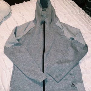 Reebok gray zip up jacket with mock neck